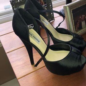 Black satin Steve Madden heels